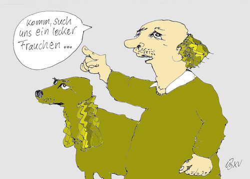 Cartoon: Komm such Frauchen (medium) by Marbez tagged frauchen,tierchen,liebchen