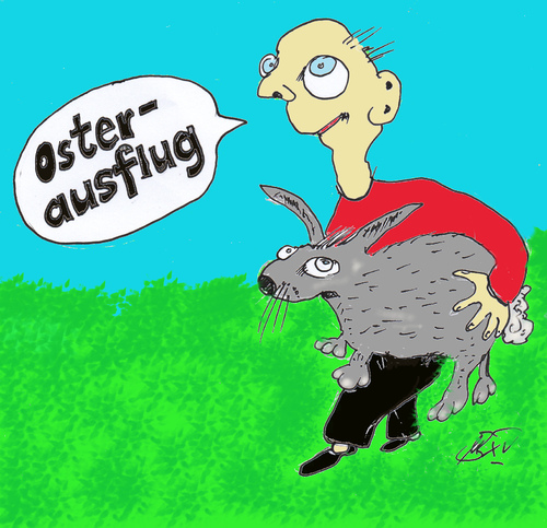 Cartoon: Osterausflug 2015 (medium) by Marbez tagged ostern,hase,natur