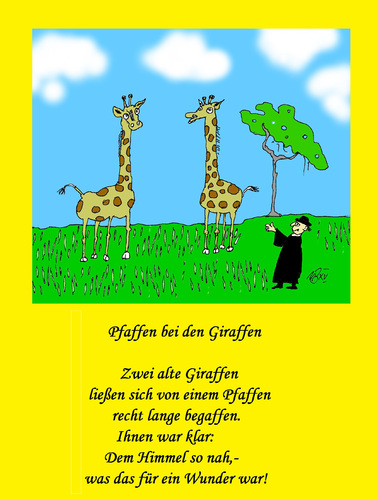 Cartoon: Pfaffen bei den Giraffen (medium) by Marbez tagged pfaffe,giraffe,himmel