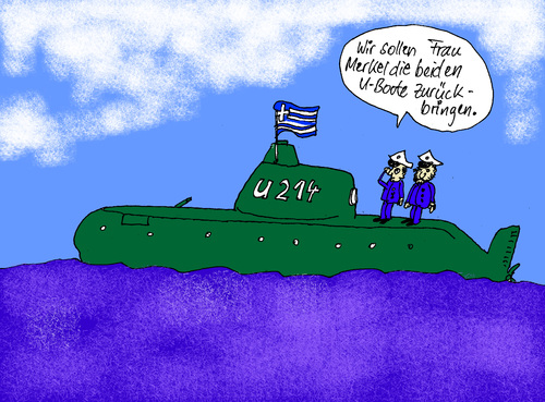 Cartoon: Trojanisches U Boot (medium) by Marbez tagged uboot,griechenland,rückgabe