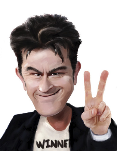 Cartoon: Charlie Sheen (medium) by Dom Richards tagged charlie,sheen,caricature,tv,actor,drugs
