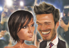 Cartoon: David and Victoria Beckham (small) by Dom Richards tagged beckham,caricature,posh,becks