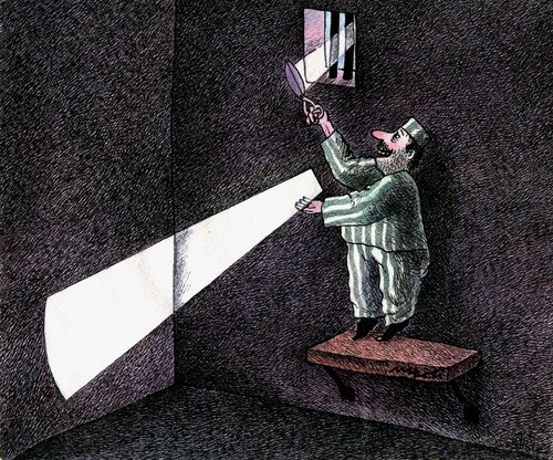 Cartoon: a piece of light (medium) by Medi Belortaja tagged piece,part,light,prisoner,prison,jail,imprisoned,cut