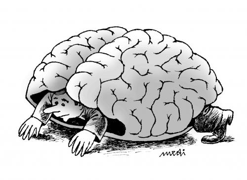 Cartoon: brain tortoise (medium) by Medi Belortaja tagged mind,think,slowly,turtle,tortoise,brain,shell,man,thought,intelligence