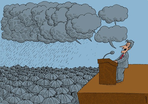 Cartoon: clouds of the speech (medium) by Medi Belortaja tagged clouds,speech,politician,raining,peoples