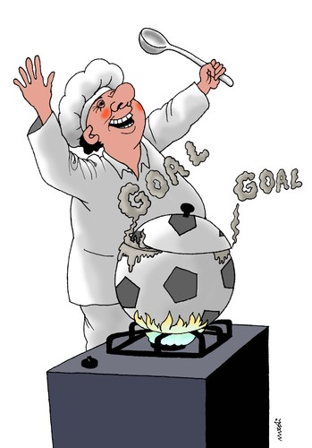 Cartoon: goal in the kitchen (medium) by Medi Belortaja tagged goal,kitchen,cook,ball,soccer,footbal,euro,2012,ukraine