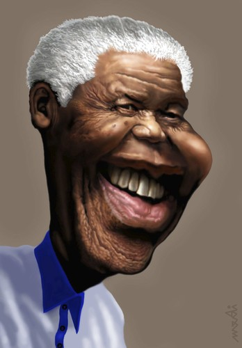 Cartoon: Nelson Mandela (medium) by Medi Belortaja tagged mandela,nelson