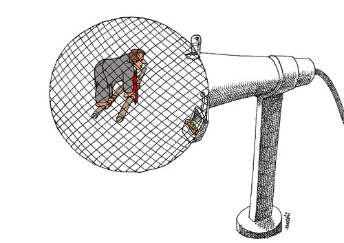Cartoon: politician s cage (medium) by Medi Belortaja tagged microphone,cage,politician,speech,politics,jail,prison