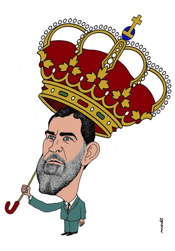 Cartoon: Principe Felipe de Asturias (medium) by Medi Belortaja tagged principe,felipe,asturias,king,crown,spain,kingdom