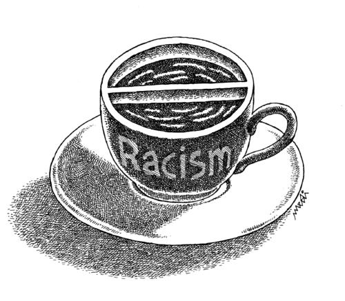 Cartoon: racism even in coffee (medium) by Medi Belortaja tagged double,wall,coffee,racism