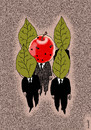 Cartoon: bodyguards and chief (small) by Medi Belortaja tagged bodyguards gead chief apple worms leafes