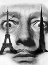 Cartoon: Dali (small) by Medi Belortaja tagged salvador dali painter towers eiffel burj dubai