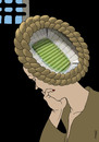 Cartoon: Timoshenko thinking (small) by Medi Belortaja tagged julia,timoshenko,thinking,soccer,football,ukraine,euro,2012,stadium,prison,jail,think