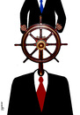Cartoon: wheelman (small) by Medi Belortaja tagged wheelman,wheel,captain,command,ship,man,hierarchy,head,chief,servant