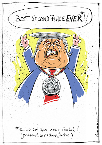 Cartoon: Best Loser (medium) by Riemann tagged donald,trump,president,usa,elections,republicans,second,place,loser,silver,grey,hair,cartoon,george,riemann,donald,trump,president,usa,elections,republicans,second,place,loser,silver,grey,hair,cartoon,george,riemann