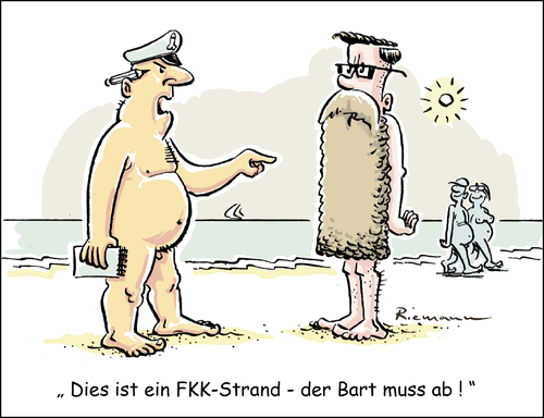 Cartoon: Dödel-Patrouille (medium) by Riemann tagged hipster,fkk,bart,mode,strand,kontrolle,nacktheit,cartoon,george,riemann,hipster,fkk,bart,mode,strand,kontrolle,nacktheit,cartoon,george,riemann