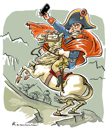 Cartoon: Napoleon (medium) by Riemann tagged smart,phone,internet,selfie,digital,art,history,famous,paintings,napoleon,crosses,the,alps,handy,modern,times,cartoon,george,riemann,smart,phone,internet,selfie,digital,art,history,famous,paintings,napoleon,crosses,the,alps,handy,modern,times,cartoon,george,riemann