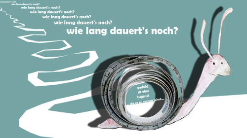 Cartoon: Wie lange dauerts noch? (medium) by Silvia Wagner tagged schnecke,snail,geduld,patience,time,zeit