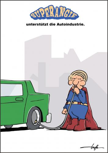 Cartoon: Superangie und Autoindustrie (medium) by luftzone tagged superangie,bundeskanzlerin,angela,merkel,autoindustrie,autos,superman,auto,autoindustrie,industrie,angela merkel,cdu,bundeskanzler,superman,held,bundeskanzlerin,superangie,luft,aufpumpen,pusten,unterstützung,angela,merkel