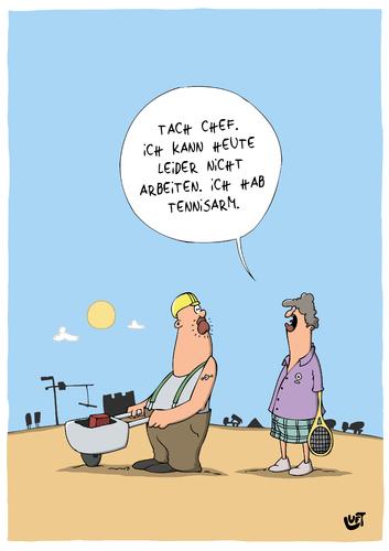 Bauarbeiter bei der arbeit comic  Tennisarm von luftzone | Wirtschaft Cartoon | TOONPOOL