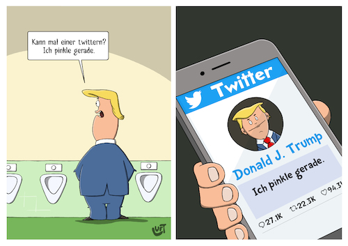 Cartoon: Twitter (medium) by luftzone tagged thomas,luft,cartoon,lustig,twitter,donald,trump,pinkeln,klo,wc,toilette,missverständnis,twittern,usa,us,präsident,handy,social,media,thomas,luft,cartoon,lustig,twitter,donald,trump,pinkeln,klo,wc,toilette,missverständnis,twittern,usa,us,präsident,handy,social,media