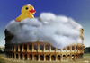 Cartoon: Gladiator (small) by A Tale tagged rom,rome,colosseum,sehenswürdigkeit,badewanne,ente,quietscheentchen,surrealismus,composing,photoshop,art