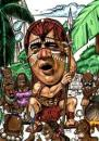 Cartoon: Caricature of Jackie Chan (small) by jit tagged caricature,jackie,chan,red,indian,