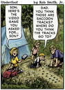 Cartoon: Camping cartoon (small) by RobSmithJr tagged camp,video,game,outdoors,family,tent,raccoon,track,tracks,animal,critter,critters,animals,wild,life,wildlife,supplies,supply,equipment