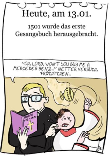 Cartoon 13 januar medium by chronicartoons tagged gesangsbuch
