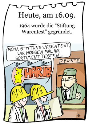 Cartoon: 16. September (medium) by chronicartoons tagged stiftung,warentest,gummibärchen,haribo,cartoon