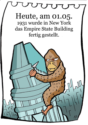 Cartoon: 1. Mai (medium) by chronicartoons tagged empire,state,buiding,new,york,king,kong,hochhaus,skyscraper