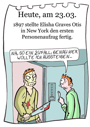 Cartoon: 23. März (medium) by chronicartoons tagged fahrstuhl,freitag13,otis,chronicartoons