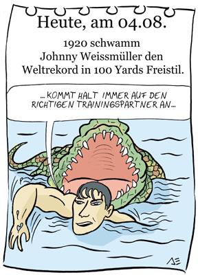 Cartoon: 4. August (medium) by chronicartoons tagged weissmüller,tarzan,schwimmen