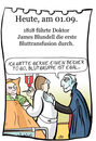 Cartoon: 1. September (small) by chronicartoons tagged blundell,blut,transfusion,vampir,dracula