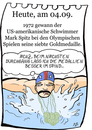 Cartoon: 4. September (small) by chronicartoons tagged mark,spitz,schwimmen,olympia,sport,cartoon