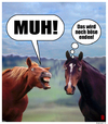 Cartoon: MUH! (small) by zenundsenf tagged cavalary,horses,food,scandal,cows,meat,pferdefleisch,nahrungsmittelskandal,cartoon,composing,zenf,zensenf,zenundsenf,andi,walter