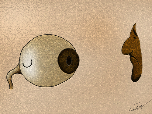 Cartoon: unhappy or smile (medium) by huseyinalparslan tagged unhappy,or,smile,eyes,health
