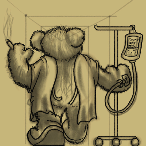 Cartoon: Recovery (medium) by Abe tagged teddy,bear,toy,life,ill,sick,recover,feeling,better,hospital,broken,heart,cigarette,smoke,smoking,open,apron,corridor,hallway,unfinished,kinda,cute