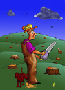 Cartoon: Woodman (small) by janjicveselin tagged woodman destruction of forests the dog piss on erosion technology ecology