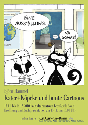 Cartoon: exhibition poster-cartoon (medium) by badham tagged exhibition,ausstellung,hammel,badham,köpcke,kater