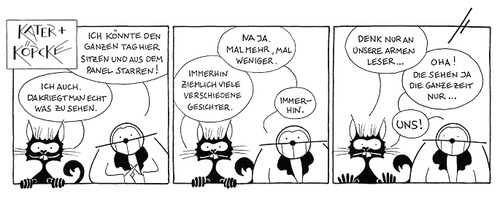 Cartoon: Kater u. Köpcke - Viel zu sehen (medium) by badham tagged leser,readers,window,watching,viewing,fenster,panel,köpcke,kater,hammel