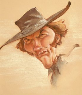 Cartoon: Mikey_Clint0250 (medium) by mikeyzart tagged caricature,clint,eastwood,pastel,cartoon