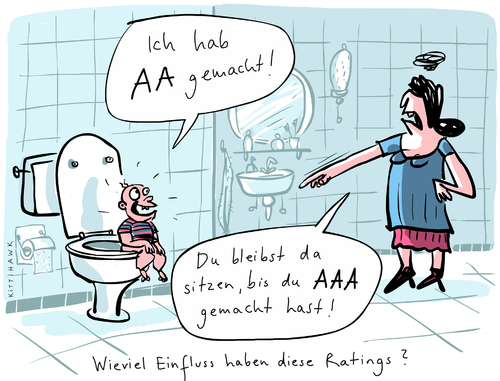 Cartoon: AAA (medium) by kittihawk tagged frankreich,deutschland,efsf,verloren,bestnote,herunterstufen,ratings,fitch,moodys,poors,and,standard,rating,triple,aaa,aa,familie,mutter,mütter,familie kinder,baby,moodys,ratingagentur,ratings,herunterstufen,bestnote,efsf,fitch,deutschland,kinder