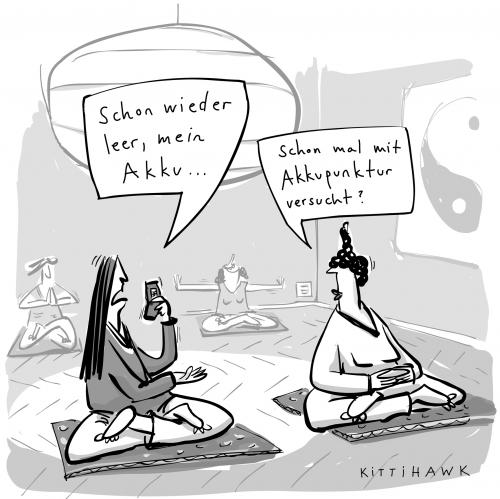 Cartoon: akku (medium) by kittihawk tagged handy,mobile,akupunktur