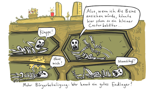 Cartoon: Endlager (medium) by kittihawk tagged gorleben,endlager,castor,atom,müll,transport,tod,skelett,tax,wendtland,gorleben,endlager,castor,atom,müll,transport,tod,skelett,tax,wendtland,atomkraft,akw