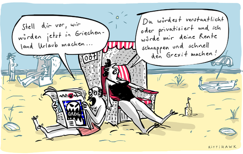 grexit urlaub von kittihawk politik cartoon toonpool. Black Bedroom Furniture Sets. Home Design Ideas