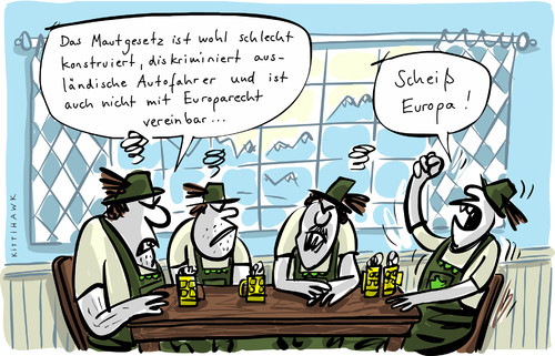 Cartoon: Maut (medium) by kittihawk tagged kittihawk,2015,maut,europa,recht,scheiß,diskriminierung,stammtisch,bayern,csu,kittihawk,2015,maut,europa,recht,scheiß,diskriminierung,stammtisch,bayern,csu
