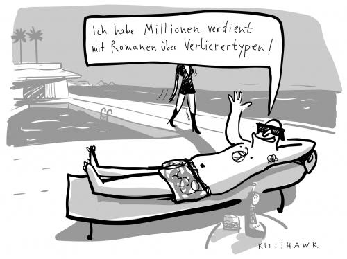 Cartoon: millionen verdient (medium) by kittihawk tagged karriere,mann,frau,strand,pool,geld,karriere,mann,frau,strand,pool,geld,erfolg,millionen,millionär,schritsteller,romanschreiber,autor,romane,geschichten,verlierertypen