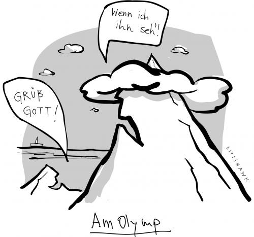 Cartoon: olymp (medium) by kittihawk tagged grüß,gott,olymp,berg,gruß,gott,olymp,olympische spiele,olympiade,olympia,berg,gebirge,spitze,götter,griechenland,mythologie,zeus,christen,religion