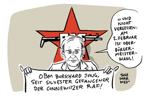 Cartoon: Connewitz Silvester RAF (medium) by Schwarwel tagged connewitz,silvester,linksextrem,linksextremismus,terror,mord,totschlag,polizei,polizeigewalt,wahlkampf,obm,burkhard,jung,spd,cdu,raf,antifa,antifaschismus,oberbürgermeister,le3112,le0101,silvesternacht,connewitzer,kreuz,linksextreme,gewalt,cartoon,karikatur,schwarwel,connewitz,silvester,linksextrem,linksextremismus,terror,mord,totschlag,polizei,polizeigewalt,wahlkampf,obm,burkhard,jung,spd,cdu,raf,antifa,antifaschismus,oberbürgermeister,le3112,le0101,silvesternacht,connewitzer,kreuz,linksextreme,gewalt,cartoon,karikatur,schwarwel